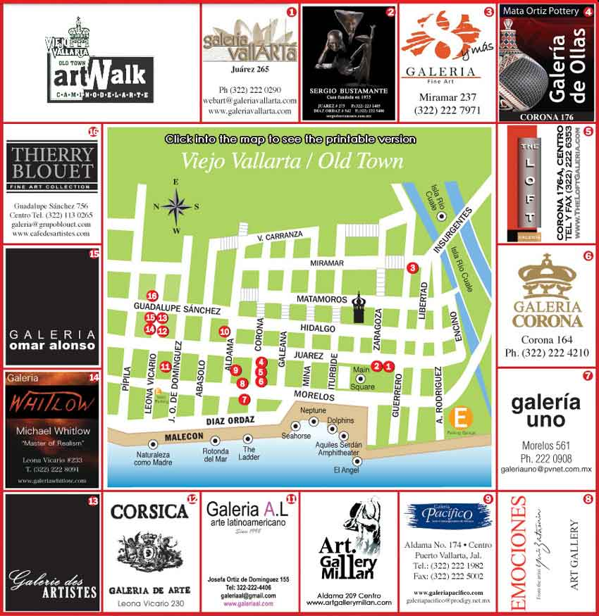 Vallarta Art Walk Map 2009