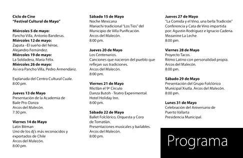 Festival Cultural de Mayo calendar