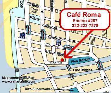 Cafe Roma Map-Vallarta